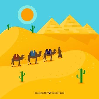 ピラミッドとキャラバンを備えたエジプト砂漠の風景