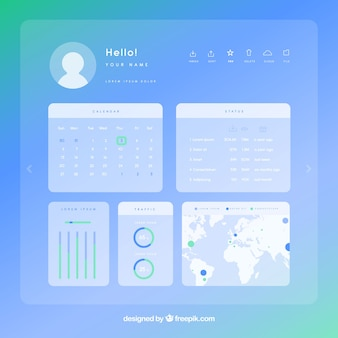 平面デザインのカラフルなアプリダッシュボード