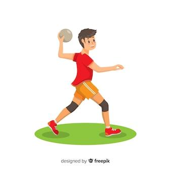Счастливый гандболист с плоским дизайном
