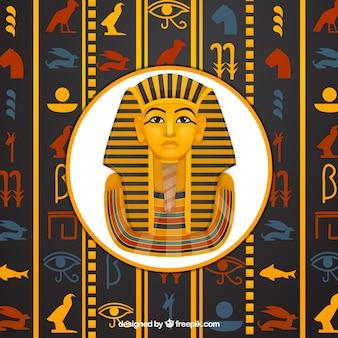Египетский иероглифический фон с плоским дизайном