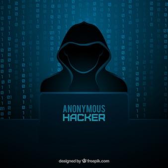 フラットデザインの匿名ハッカー概念