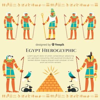 手描きのエジプトの象形文字背景
