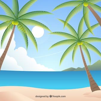 Райский тропический пляж с плоским дизайном