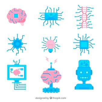 Набор элементов искусственного интеллекта в плоском дизайне