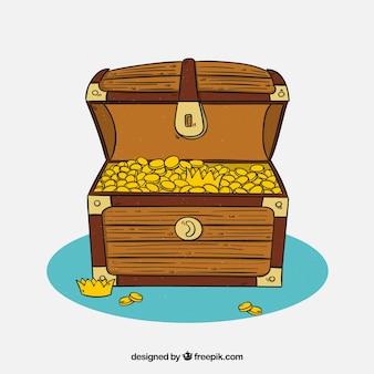 手描きの木製の宝箱