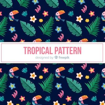 トゥカンと葉のカラフルな熱帯の柄