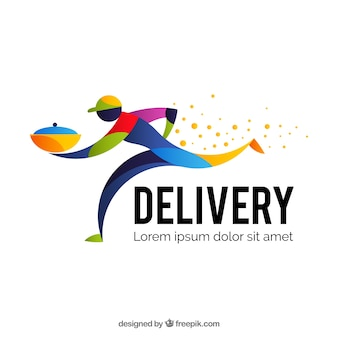 Шаблон логотипа доставки с ярким человеком