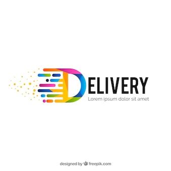 Современный красочный шаблон логотипа доставки