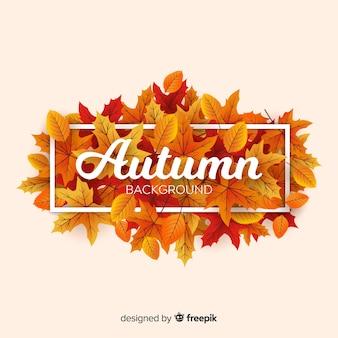 メッセージとタイポグラフィのある秋の背景