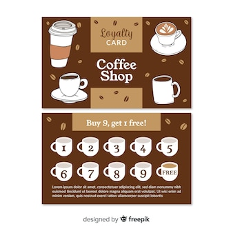 素敵なカフェ・ロイヤリティ・カード・テンプレート