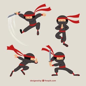 Оригинальная коллекция персонажей ниндзя с плоским дизайном