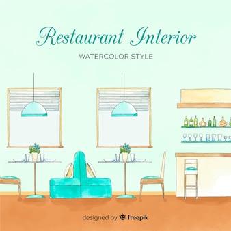 水彩スタイルのレストランインテリア