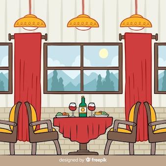 手描きのエレガントなレストランのインテリア
