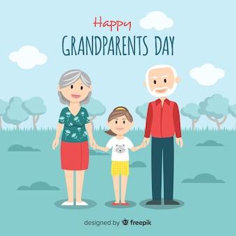 フラットなデザインの素敵な祖父母の日の構成