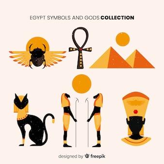 平らなエジプトのシンボルと神のコレクション