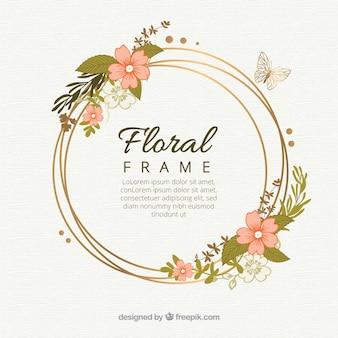 オリジナルの手描きの花のフレーム
