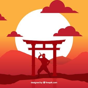 Традиционный фон воинов ниндзя с плоским дизайном