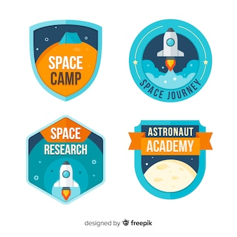 Коллекция красочных космических значков с плоским дизайном