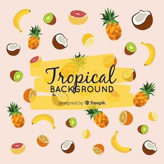 果物とカラフルな熱帯の背景