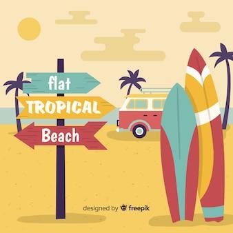 Плоский фон тропического пляжа