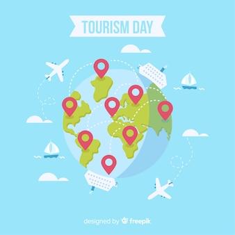 フラットデザインの現代世界観光日構成