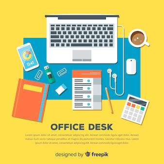 現代のオフィスデスクのトップビュー