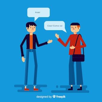 異なる言語を話す幸せな人