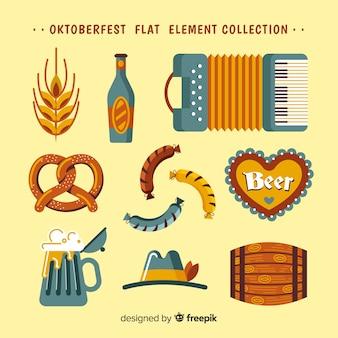 フラットデザインのクラシックオクトーバーフェスト要素コレクション