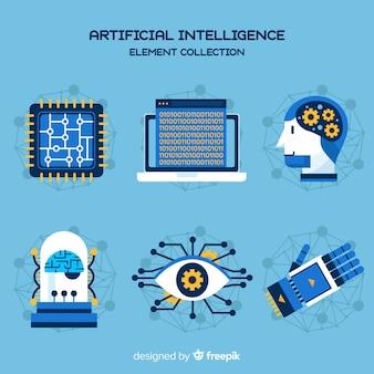 Коллекция элементов искусственного интеллекта в плоском дизайне