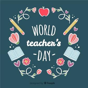 手描きのスタイルで素敵な世界の教師の日の構成