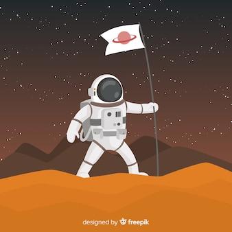 Современный персонаж космонавта с плоской конструкцией