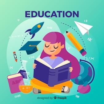 Прекрасная концепция образования с плоским дизайном