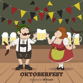 オクトーバーフェストを祝う幸せな手描きの人々