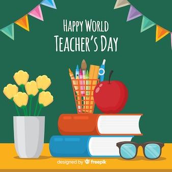 フラットデザインの素敵な世界教師の日の構成