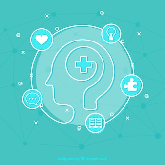フラットデザインの現代精神保健概念