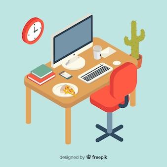 平らなデザインの現代オフィスデスクの等角図