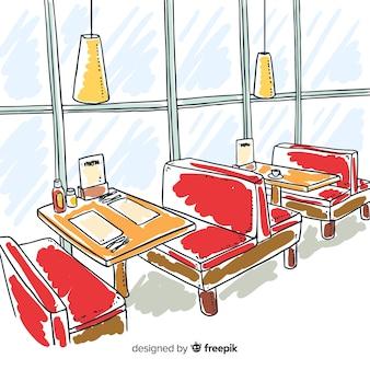エレガントなレストランの手描きインテリアデザイン