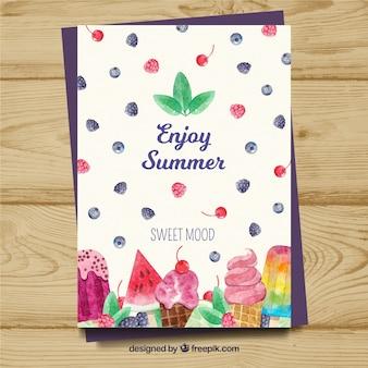 Симпатичная акварельная летняя открытка с мороженым
