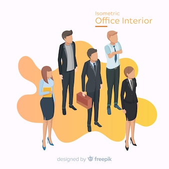 平らなデザインのオフィスワーカーの等角図
