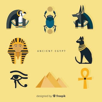 フラットデザインのエジプトシンボルのセット