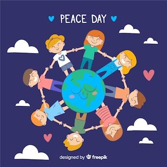День мира с детьми, держащимися за руки