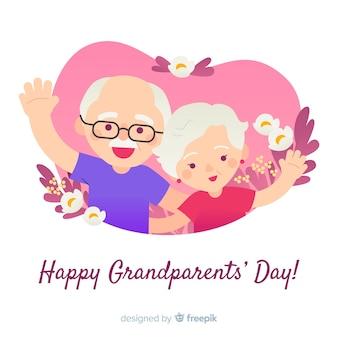 平らなデザインの祖父母の日の構成