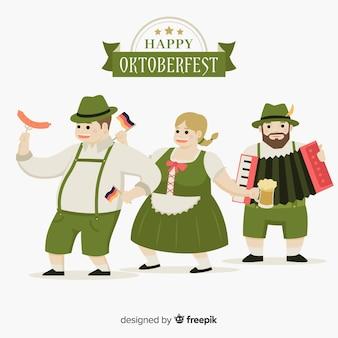 フラットデザインのオクトーバーフェストを祝う幸せな人たち