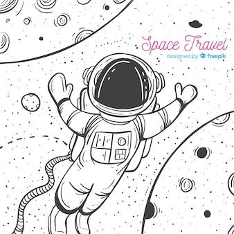 素敵な手描きの宇宙飛行士のキャラクター