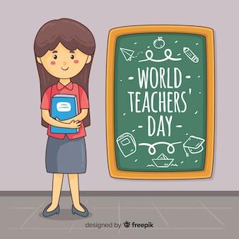 素敵な手描きの教師の日の構成