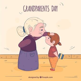 手描きの祖父母の日の構成