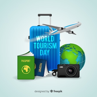 現実的なデザインの世界観光日のコンセプト
