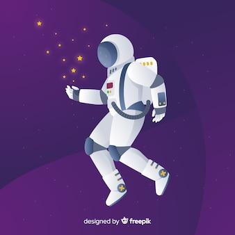 フラットデザインの現代宇宙飛行士構成