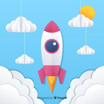 Прекрасная космическая ракета с стилем оригами