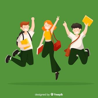 Счастливый фоне студентов
